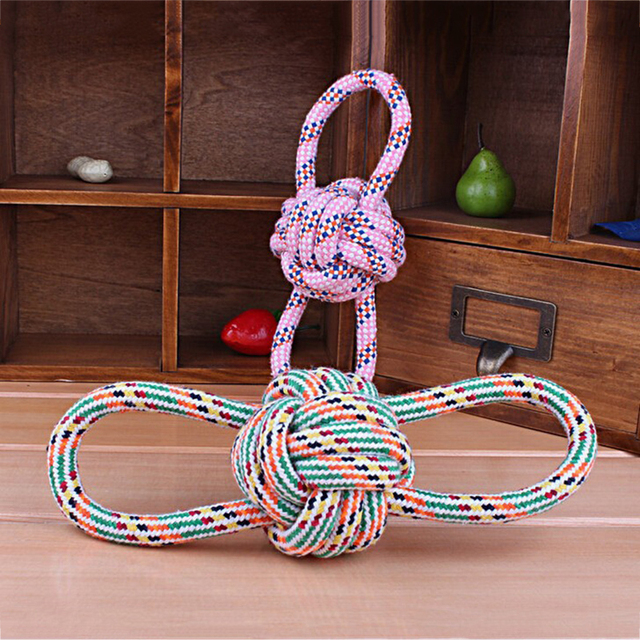 Handmade Braided Pet Toys Dog Cotton Rope Chew Toys Dog Tug Pets Puppy Chew Braided  Dogs Training Bait Toys
