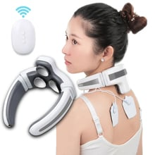 Electric Neck Massager and Pulse Back 3 Head 8 Modes Power Control Far Infrared Heating Pain Relief Tool Health Care