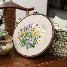 Beginner Embroidery Kit Modern Flower and Plant Hand Embroidery Full Kit for Beginners DIY 3 Dimensional Floral Embroidery Hoop Wall Art Kit