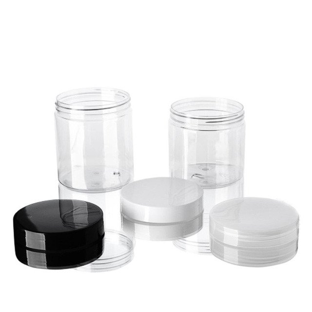 Cream Jars Cosmetic Packing Ointment Black,white 10pcs 250g 250ml Mask Clear White,black, Pet Empty With Inner Lids Cap Ask Tel