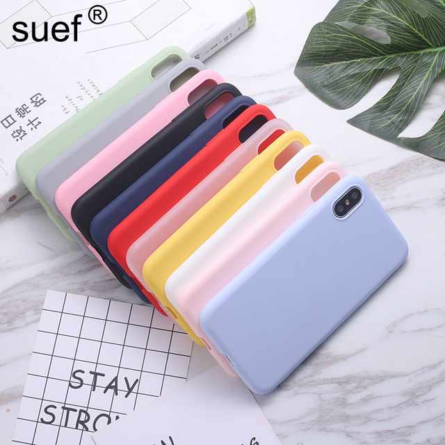 suef Silicone Candy Color Case For iPhone 11 Pro Max 6 6s 7 8 Plus X XS Max XR Soft Solid Color Cover For iPhone XR Shell
