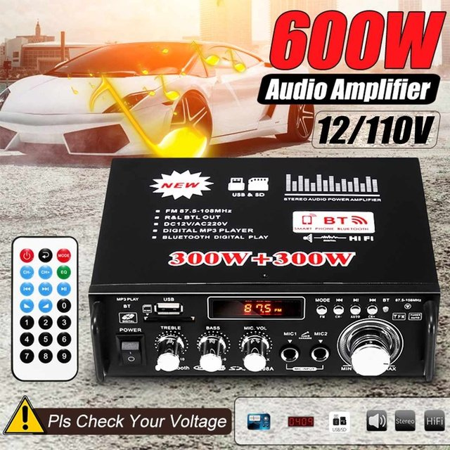 600W  2CH HiFi  Audio AmplifierDigitals bluetooth Stereo Auto Subwoofer Auto Tuning Amplifier Home Theater Amplifier With Remote