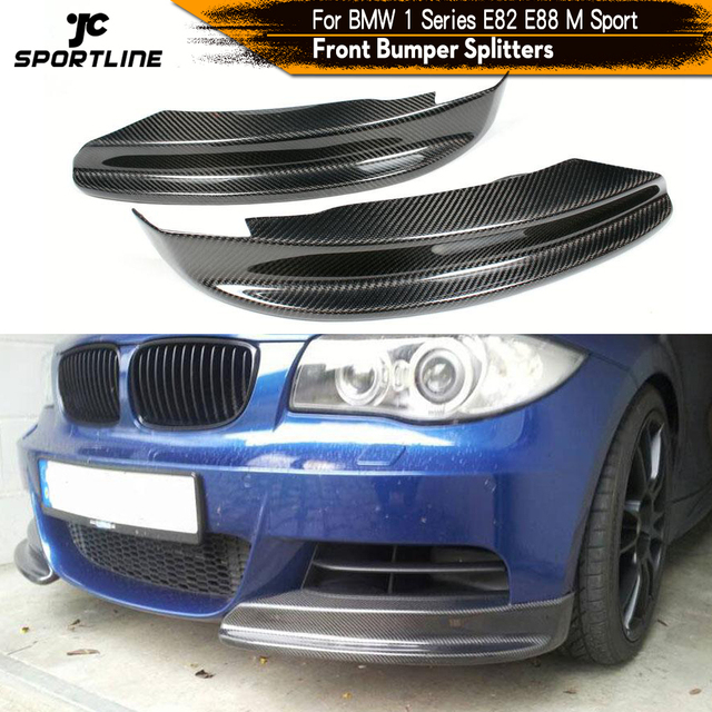 Front Bumper Splitters Spoiler for BMW E82 E88 Coupe Convertible M Sport 2008 - 2013 Spoiler Flaps Cupwings Carbon Fiber / FRP