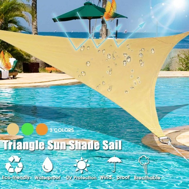 3Colors 2Mx2Mx2M Triangle Sun Shelter Sunshade Protection Outdoor Canopy Garden Patio Pool Shade Sail Awning Camping Picnic Tent