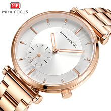 MINIFOCUS Fashion Dress Women Watches Quartz Analog Clock Elegant Ladies Watch Rose Golden Steel Strap Wristwatches Waterproof
