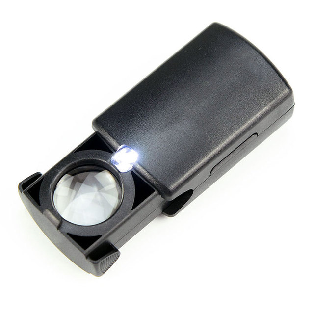 20X 21mm Pull-Type Mini Jewelry Loupe Magnifier Magnifying Glass with LED Light