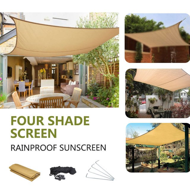 Portable Shade Screen Square Camp Outdoors Tent Cloth Pergola Awning Practical Beige Travel Waterproof Camping Mat