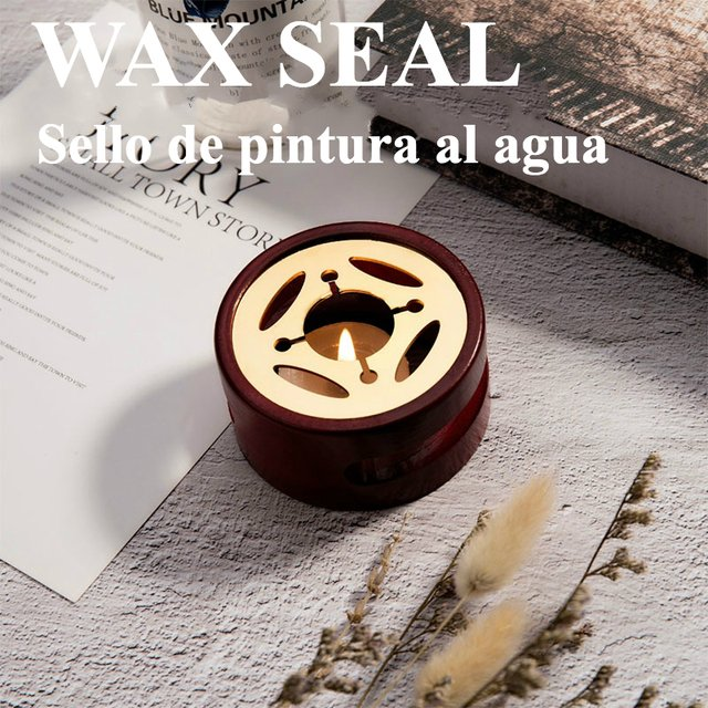 Wax Seal Stamp Wooden Melting Stove Wax Seal Sticks Melting Pot for Wax Sealing Kit Glue Brass Spoon Furnace DIY Crafts Tool