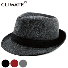 CLIMATE Men Jazz Hat Gentry Fedora Warm Formal Hat for Man Solid Winter Polyester Woolen Fedoras Cap Black Fedora Men Hat Cap