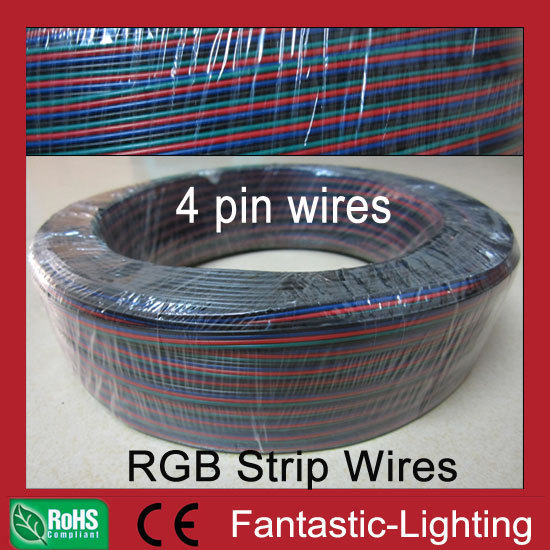 DHL Fast Free shipping RGB strip 4pin wires extension 100meter/lot AWG22 RGB cable wire extension for LED strip light
