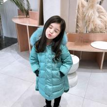 90-150cm girls big Fox fur collar down jackets 2019 winter new 3 colors 94% white duck down coats children clothes 2-12Y ws1242