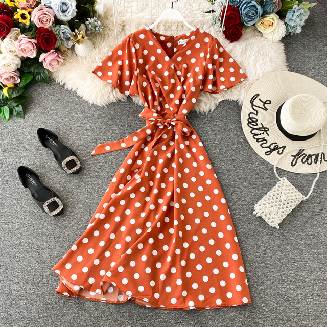 Summer Beach Dress Vestidos Mujer 2020 New Women Slim Short Sleeve V-neck Sexy Boho Dresses Fashion Dot Bandage Party Dress