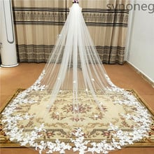 Real Photo 3m One Layer Wedding Veil With Comb White Lace Edge Bridal Veils Ivory Appliqued Cathedral Wedding Veil