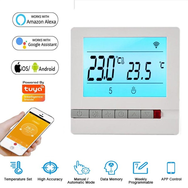 Tuya Smart Home Intelligent Room Wifi Thermostat Remote Control Temperature Controller Supports Alexa, Google Home 95~240V AC