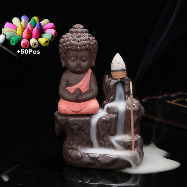 50Pc Incense Cones + Burner Creative Home Decor The Little Monk Small Buddha Censer Backflow Incense Burner Use In Home Teahouse