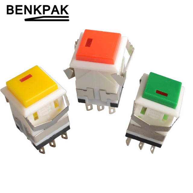 self-lock push button switch with lamp DC3V Momentary spring return