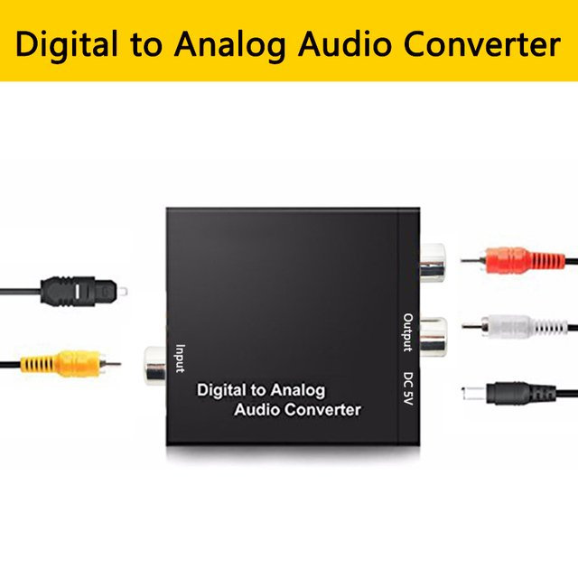 Digital Optical Coaxial to Analog  (L/R) Audio Converter Adapter Toslink/SPDIF Coaxial in RCA L/R 3.5mm jack out Amplifier