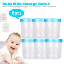 Baby Breast Milk Storage Bottle Collection BPA Free Products Food Grade PP Infant Food Freezer Container 180ml Capacity 6 Pieces