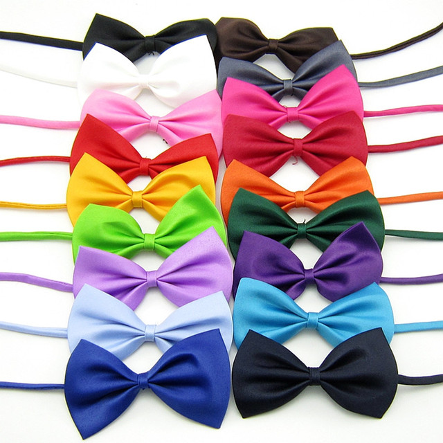 100PC/Lot Solid Colors Cat Dog Bow Ties Polyester Pet Dog Bowties Collars Dog Grooming Accessories 16Colors