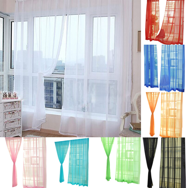 Pure Color Tulle Curtains For Living Room Window  Salon Heart Door Tassel Dividers  Curtains