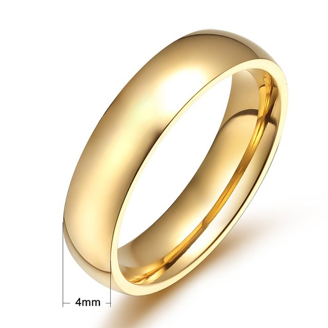 Free Custom Engraving 2mm, 4mm, 6mm, 8mm High Polished Unisex Simple Gold Wedding Rings in Stainless Steel