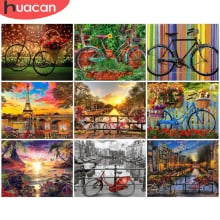 HUACAN DIY Painting By Numbers Landscape Hand Painted Paintings Bicycle Art Gift Pictures By Number Drawing On Canvas Home Decor