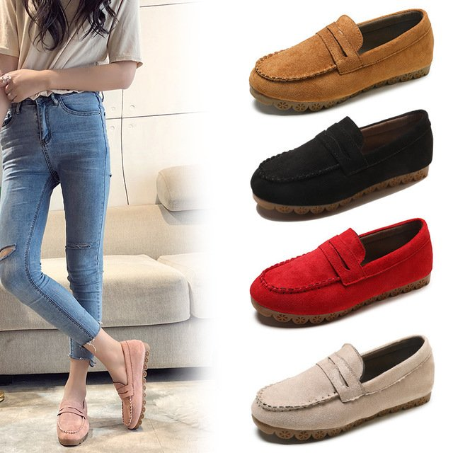 Spring/Autumn New Women Shoes Flats Loafers Woman Flock Fashion Soft Bottom Casual Shoes Woman Slip-On Non-slip Maternity Shoes