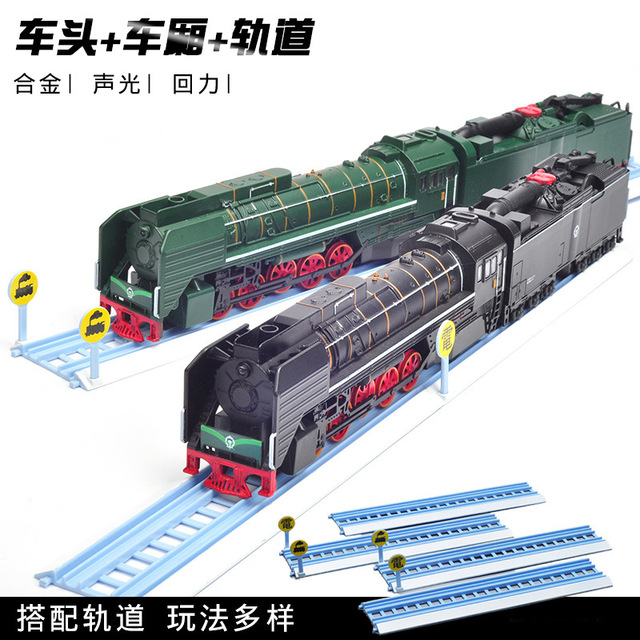 1:50 high simulation Dongfeng diesel locomotive alloy train model sound and light retro locomotive model train toy for gifts