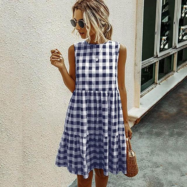 Jocoo Jolee Women Elegant Plaid Sundress Casual Summer Sleeveless A Line Dress Retro Beach Dress Evening Party Dress Vestidos
