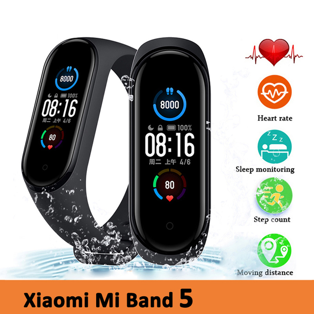 "Original Xiaomi Mi Band 5 Smart Bracelet 1.1"" AMOLED Colorful Screen Heart Rate Fitness Tracker Bluetooth 5.0 Waterproof Miband5"