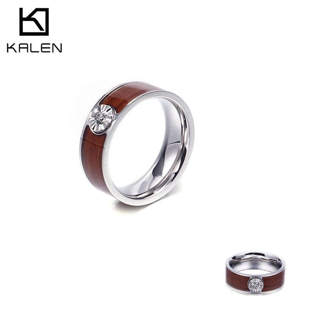 KALEN Retro Cubic Zirconia Ring Men Size 7-12 Stainless Steel Polished Finger Rings Jewelry Gifts