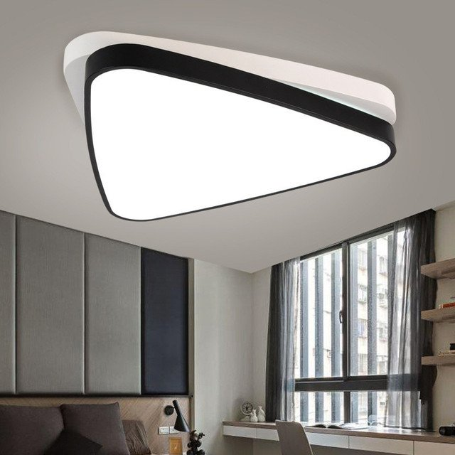 Creative Triangle Overlapping Living Room LED Ceiling Lamp Restaurant Lamp  Black And White Bedroom Cafe Light Free Shipping