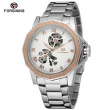 FORSINING Men Luxury Brand Self Wind Skeleton Stainless Steel Watch Automatic Mechanical Wristwatches Gift Box Relogio Releges