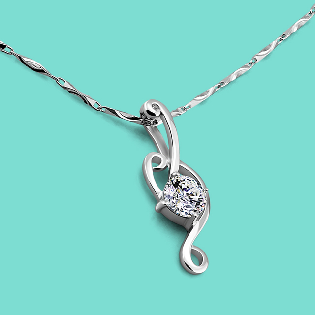Fashion 925 Sterling Silver Necklace Women Shine AAAAA Zircon Pendant Necklace Clavicle Chain Birthday Party Jewelry Gift