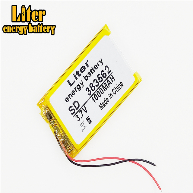 3.7V 1000mAh 383562 Lithium Polymer Li-Po li ion Rechargeable Battery cells For Mp3 MP4 MP5 GPS