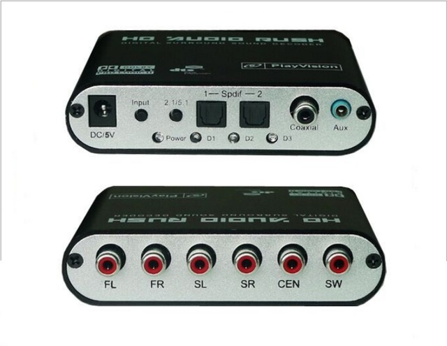 1pcs/Lot   5.1/2.1-Channel DTS/AC-3 SPDIF Home Theater Audio Decoder Gear Surround Sound, Free shipping