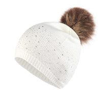 Women Daily Soft Warm Hemming Casual Outdoor Rhinestone Studded Windproof Plush Ball Knitted Hat Fashion Autumn Winter Elastic