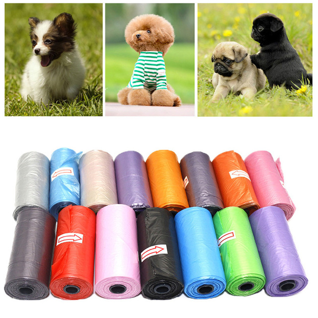 Portable Degradable Pet Waste Poop Bags 15pcs/roll Dog Cat Clean Up Refill Garbage bag for Pet cleaning
