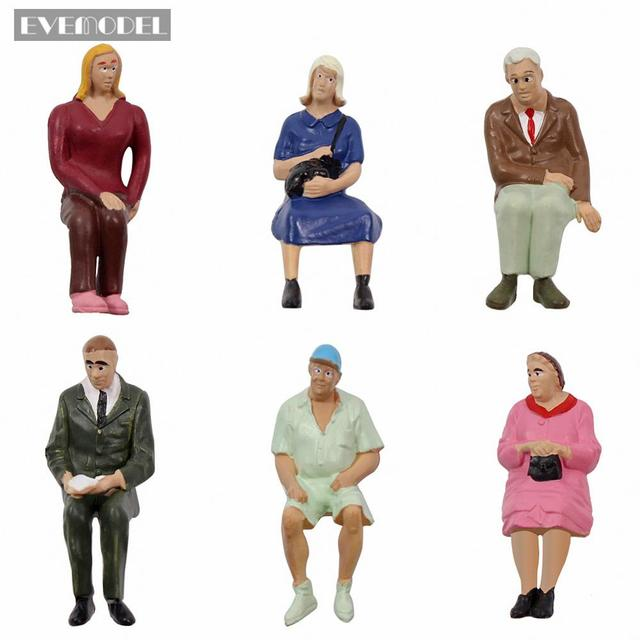 6pcs/12pcs G scale Model Figures 1:22.5-1:25 All Seated Painted People Model Railway P2511