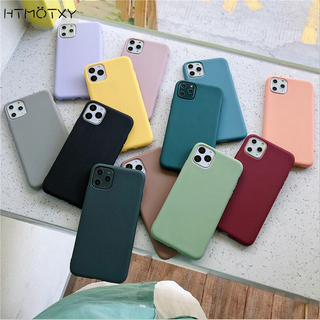 For iphone SE 2020 Case For iphone 11 Pro 11Pro Max XR X 10 XS Max 7 8 6 6S Plus Case Solid Color Soft Silicone Plain Back Cover