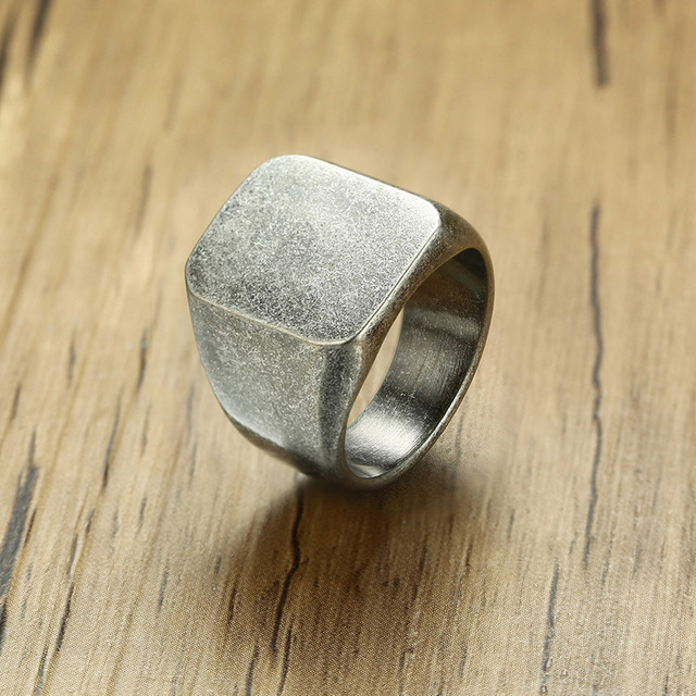 Free Custom Engraving Square Face Signet Rings in Stainless Steel Chunky Biker Statement Rings
