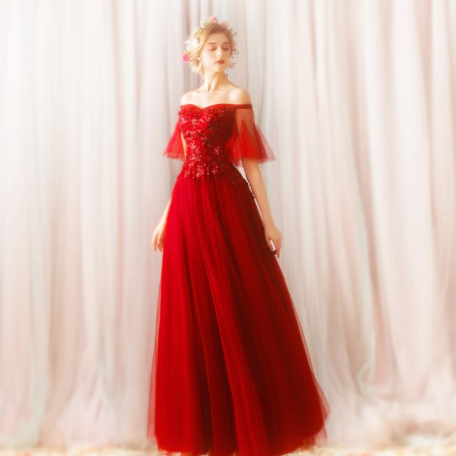 Wine Red A-line Tulle Lace Flowers Appliques Elegant Evening Dress 2020 New Arrival Elegant Long Formal Prom Evening Gowns SK22