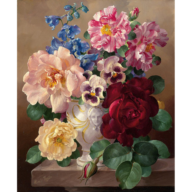 Frame Picture Vintage Flower DIY Painting By Numbers Hand Painted Oil Painting On Canvas Acrylic Paint For Home Decor