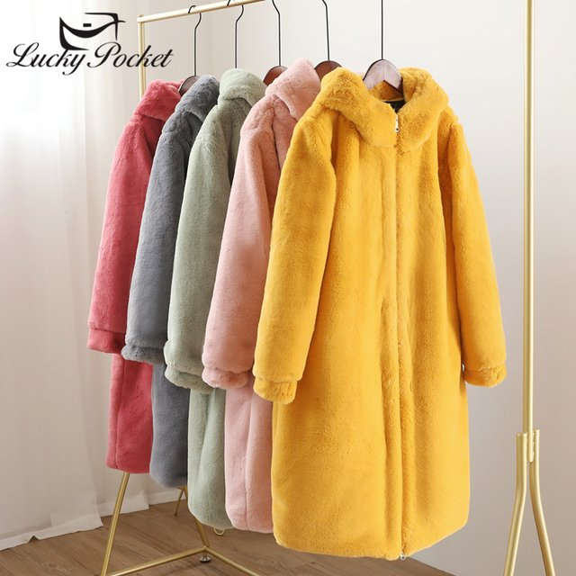 Winter Women Thick Warm Hooded X-Long Faux Fur Jacket Female High Quality Fluffy Rabbit Fur Coat Plus Size Loose Parkas Z1012