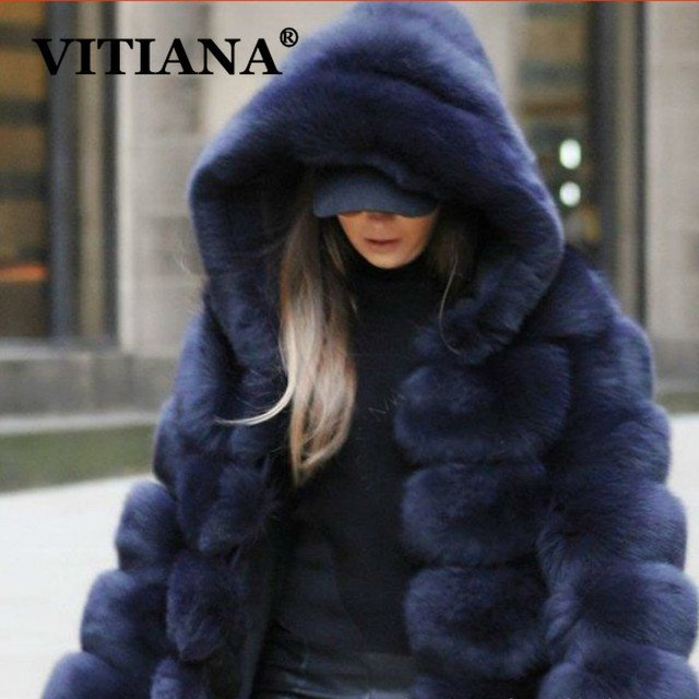 VITIANA Women Casual Faux Fur Coat Ladies 2019 Autumn Winter Elegant Warm Soft Outwear Female Hooded Long Coats Good Quality