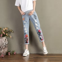 A310# 2020 Spring Summer Fashion Painting Ripped Hole Denim Maternity Jeans Belly Pants Clothes for Pregnant Women Pregnancy