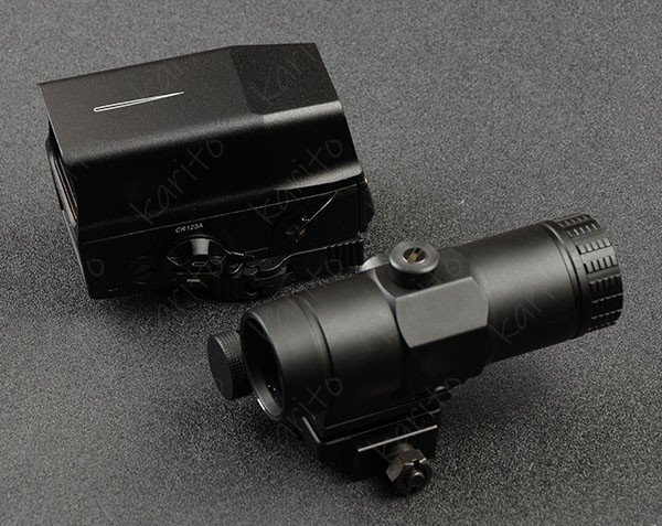 Tactical 1x Red Dot Sight rifle scope & Picatinny Rail Side Flip Mount 3x red dot Magnifier combination M7964