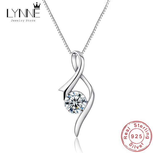 LYNNE Jewelry 925 Sterling Silver Ribbon Zircon Pendant Necklace Women Fashion Party Gift Wild Note Rhinestone CZ Clavicle Chain