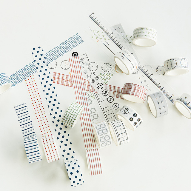 3Roll/set Simple Basic Decorative Adhesive Tape Cute Grid Masking Tape For Stickers Scrapbooking DIY Stationery Tape