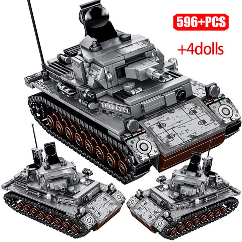 Military German Tank Building Block Army WW2 City Soldier Police Figures Toy Boy